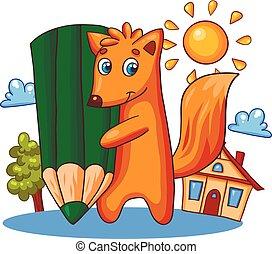 Vector card with cartoon fox character.