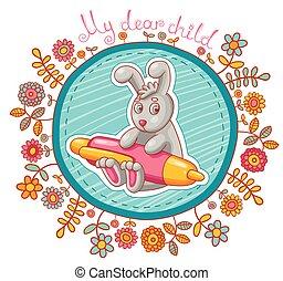 Vector card with cartoon rabbit character.