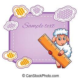 Vector card with cartoon sheep character.