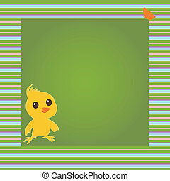 Vector card with chicken and butterfly