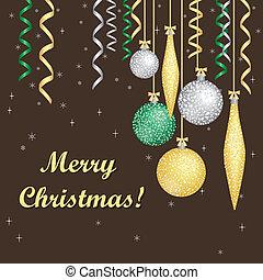 Vector card with Christmas balls