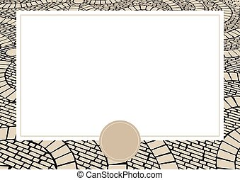 Vector card with Cobblestone background