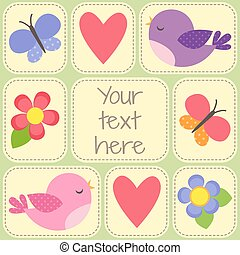 Vector card with cute birds, butterflies and flowers.