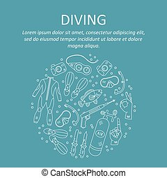Vector card with diving equipment.
