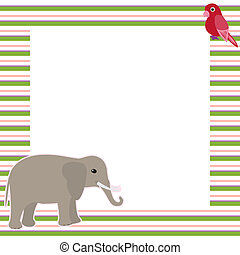 Vector card with elephant and parrot