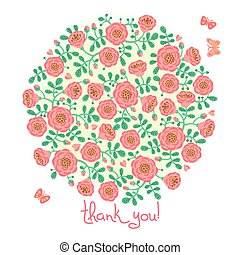 Vector card with floral bouquet and text Thank you