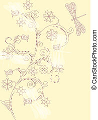 vector card with  floral ornament and dragonflies.