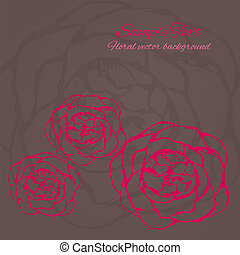 Vector card with hand drawn flowers