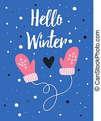 Vector card with hand drawn funny mittens.