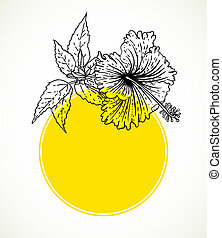 Vector card with hibiscus on yellow circle frame.