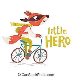 Vector card with Little hero lettering and fox character riding a bike.