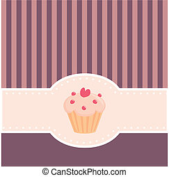 Vector card with muffin cupcake