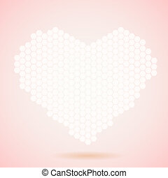 Vector card with pink heart honeycomb