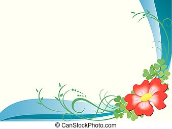 vector card with red flower