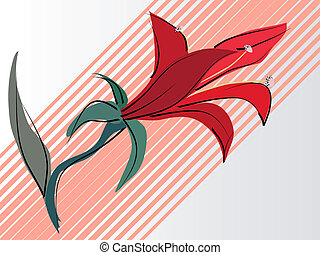 Vector card with red lilies.