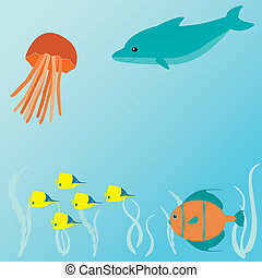 Vector card with sea creatures