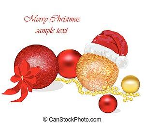Vector Card with shiny Christmas balls