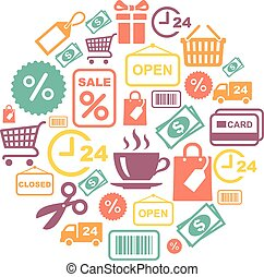vector card with shopping supermarket services colored icons