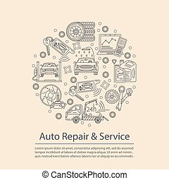 Vector card with symbols of car service