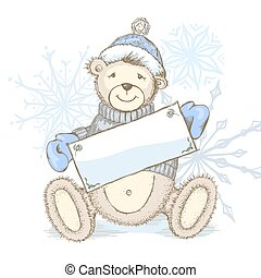 Vector Card with toy bear in hat