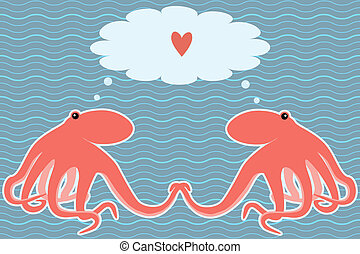 Vector card with two octopuses