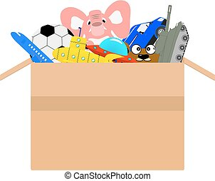 Vector cardboard box full of different kids toys