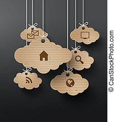 Vector cardboard graphics with cloud of application icons