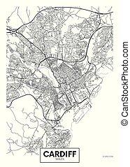 vector, cardiff, ciudad, detallado, mapa, cartel