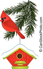 Vector Cardinal, Pine Tree Branch and Birdhouse - Vector ...