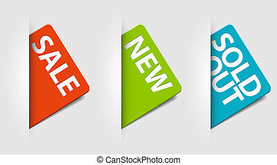 Vector cards for new, sale and sold out items