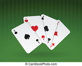 Vector cards on green background