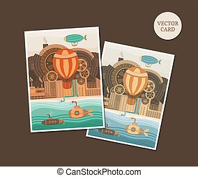 Vector cards steampunk