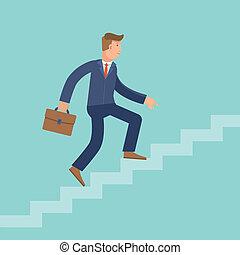 Vector career concept in flat style - cartoon man climbing ...