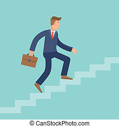 Vector career concept in flat style - cartoon man climbing...