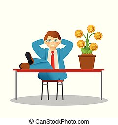 Vector carefree businessman concept with money tree in flat...