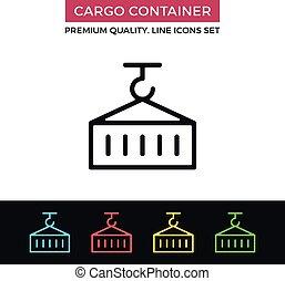 Vector cargo container icon. Thin line icon