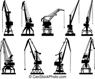 Set vector silhouettes of cargo crane tower, isolated on white.