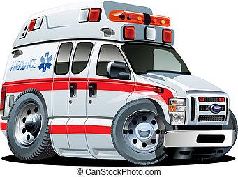 vector, caricatura, ambulancia, coche
