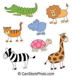 vector, caricatura, animales