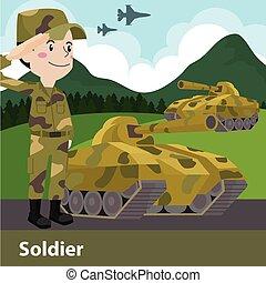 vector, caricatura, arma, militar, ilustración, plano, soldado
