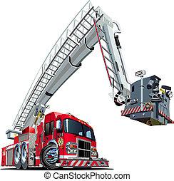 vector, caricatura, camión de fuego