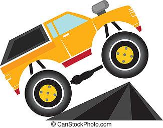 vector, caricatura, camión gigantesco