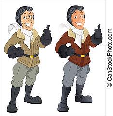 vector, caricatura, caracteres, piloto