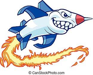 vector, caricatura, cohete, mascota