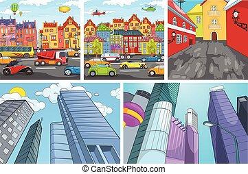 vector, caricatura, conjunto, de, ciudad, backgrounds.