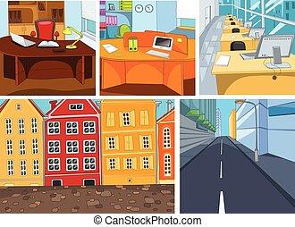 vector, caricatura, conjunto, de, ciudad, oficina, backgrounds.