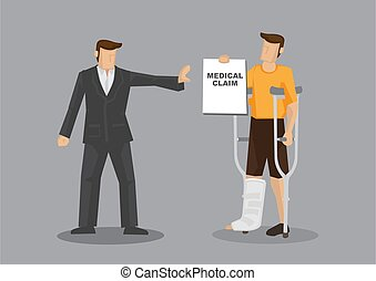 vector, caricatura, denies, ilustración, paciente, insurer, ...