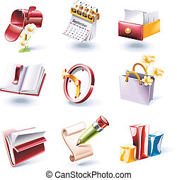 vector, caricatura, estilo, icono, set., p.., 1