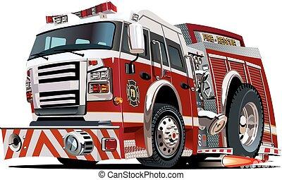 vector, caricatura, firetruck