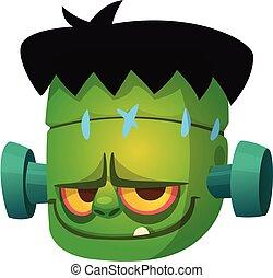 vector, caricatura, frankenstein, character., ilustración, halloween, cabeza